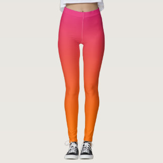 Pink and Orange Ombre Leggings