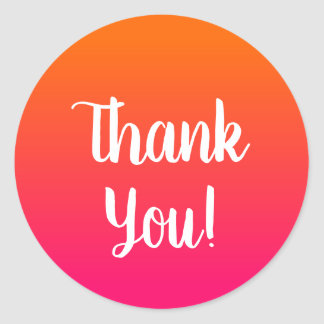 Pink and Orange Ombre Thank You Classic Round Sticker