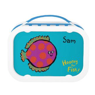Pink and Orange Polka-Dot Fish Lunch Box