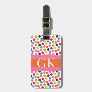 Pink and Orange Polka Dot Monogram Luggage Tag