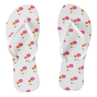 pink and orange poppy flip flops