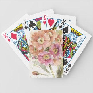 Pink and Orange Primrose Bicycle Playing Cards