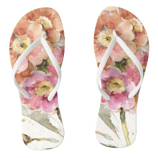 Pink and Orange Primrose Flip Flops