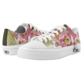 Pink and Orange Primrose Low-Top Sneakers