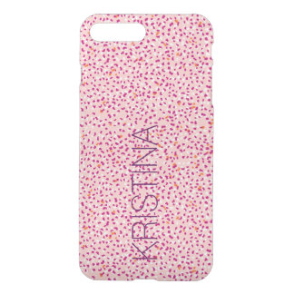 Pink and Orange Snow Leopard Clear Phone Case