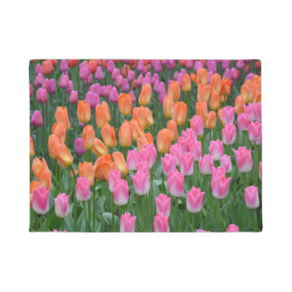 Pink and orange spring tulips doormat