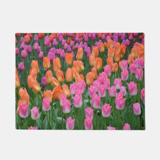 Pink and orange spring tulips doormat