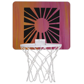 Pink and Orange Sunburst Basketball Hoop