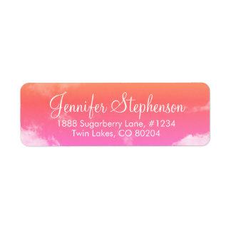Pink and Orange Sunset Clouds Return Address Label