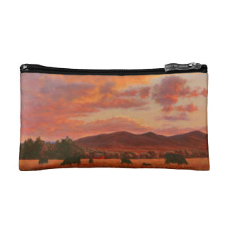 Pink and Orange Sunset with Cattle Cosmetic Bag