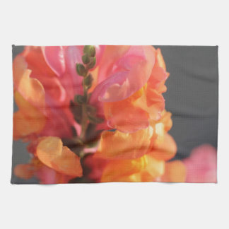 Pink and orange tropical flowers kitchen towel