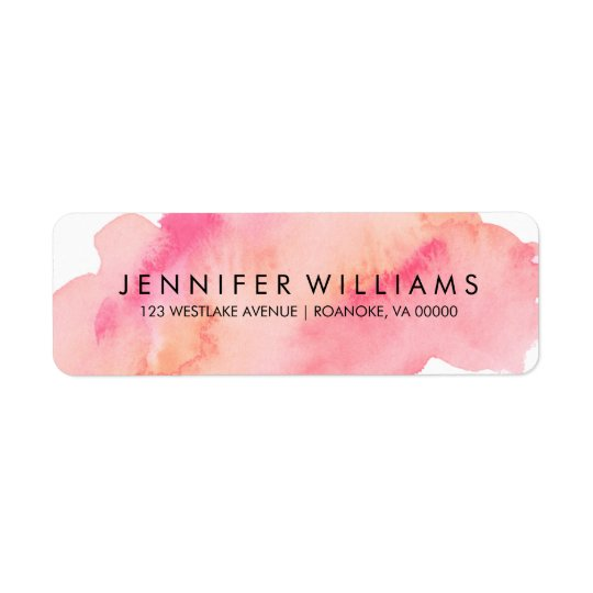 Pink and Orange Watercolor Return Address Label