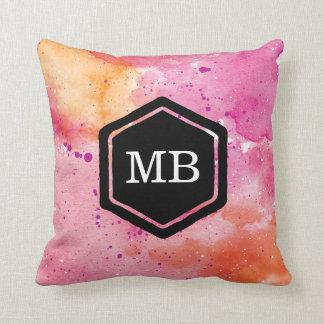 Pink and orange watercolour galaxy monogram pillow