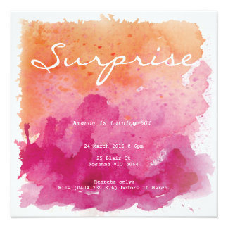 Pink and Orange Watercolour Surprise Birthday Card