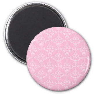 Pink and Pale Pink Damask Pattern 2 Inch Round Magnet