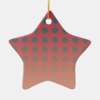 Pink and Peach Gradient with Teal Ceramic Star Ornament