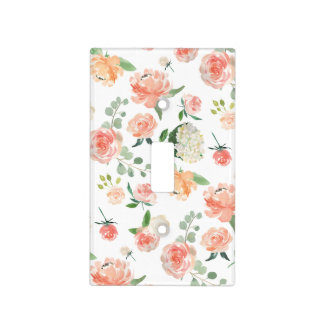 Pink and Peach Watercolor Floral Botanical Light Switch Cover