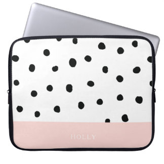 """Pink and Polka Dot Laptop Sleeve 15"""" Personalized"""