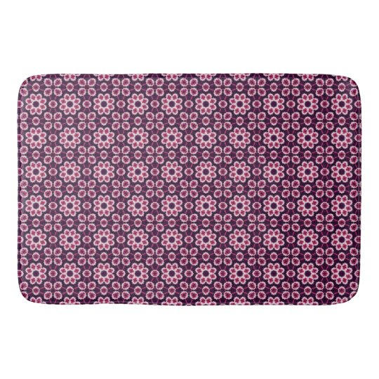 Pink And Purple Abstract Flower Pattern Bath Mat