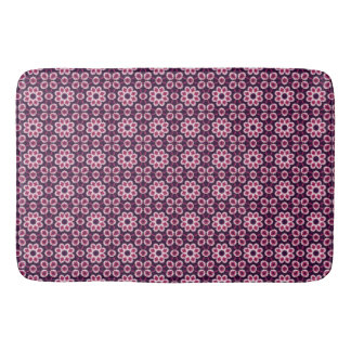 Pink And Purple Abstract Flower Pattern Bathroom Mat