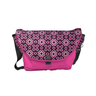 Pink And Purple Abstract Flower Pattern Messenger Bag