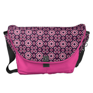 Pink And Purple Abstract Flower Pattern Messenger Bags