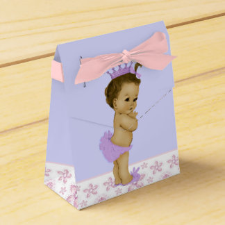 Pink and Purple African American Baby Girl Shower Favor Box