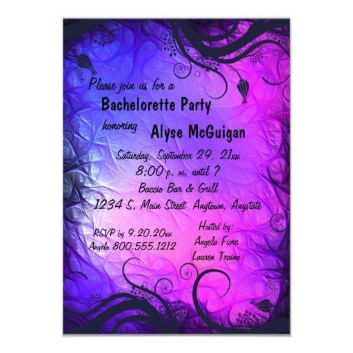 "Pink And Purple Bachelorette Party Invitation 5"" X 7"" Invitation Card"
