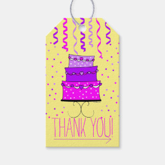 Pink and Purple Birthday Cake - Thank You Gift Gift Tags