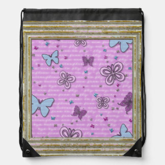Pink And Purple Butterfly Pattern Drawstring Bag