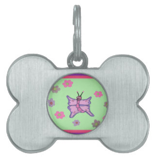 Pink and Purple Butterfly Pet Tags