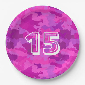 Pink and Purple Camo Paper Plate