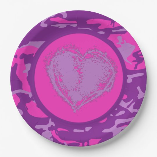 Pink and Purple Camo with Heart 9 Inch Paper Plate