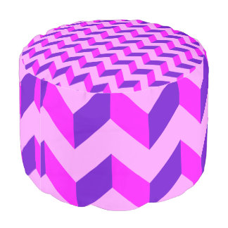 Pink and Purple Chevron Patchwork Pattern Gifts Pouf