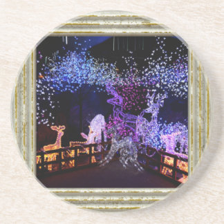 Pink And Purple Christmas Decorations Coaster