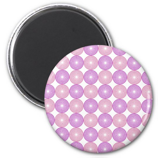 Pink and purple circles pattern 2 inch round magnet