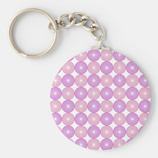 Pink and purple circles pattern basic round button keychain