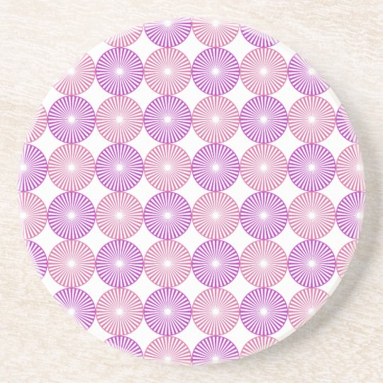 Pink and purple circles pattern beverage coasters