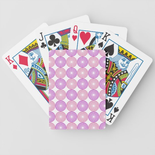 Pink and purple circles pattern bicycle playing cards