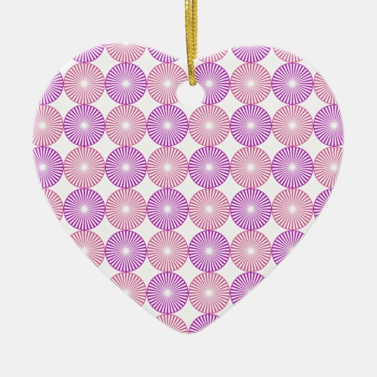 Pink and purple circles pattern ceramic heart ornament