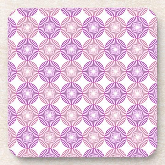 Pink and purple circles pattern coaster