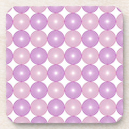 Pink and purple circles pattern drink coasters