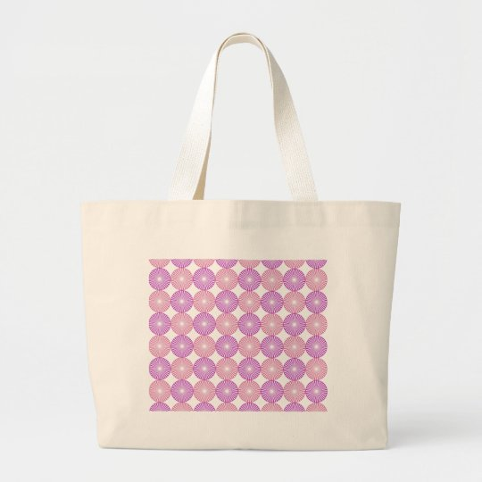 Pink and purple circles pattern large tote bag