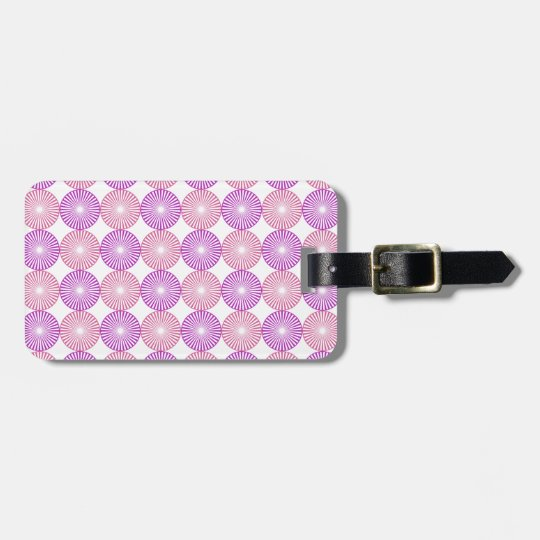 Pink and purple circles pattern luggage tag