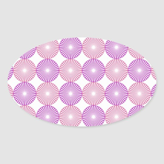 Pink and purple circles pattern oval sticker