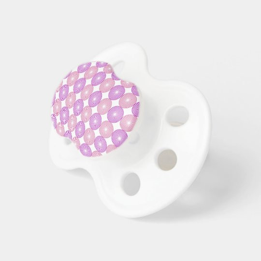 Pink and purple circles pattern pacifiers