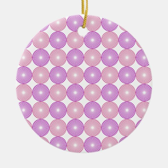 Pink and purple circles pattern round ceramic ornament