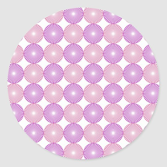 Pink and purple circles pattern round sticker