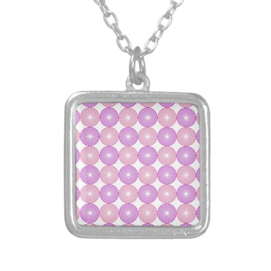 Pink and purple circles pattern silver plated necklace
