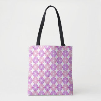 Pink and purple circles pattern tote bag